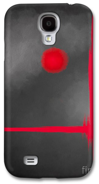 Abstract Digital Paintings Galaxy S4 Cases - Red Dot Galaxy S4 Case by Anita Lewis
