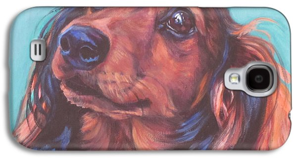 Puppies Galaxy S4 Cases - Red Doxie Galaxy S4 Case by Lee Ann Shepard