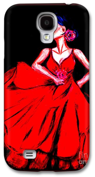 Photo Manipulation Paintings Galaxy S4 Cases - Red dress Galaxy S4 Case by Oksana Semenchenko