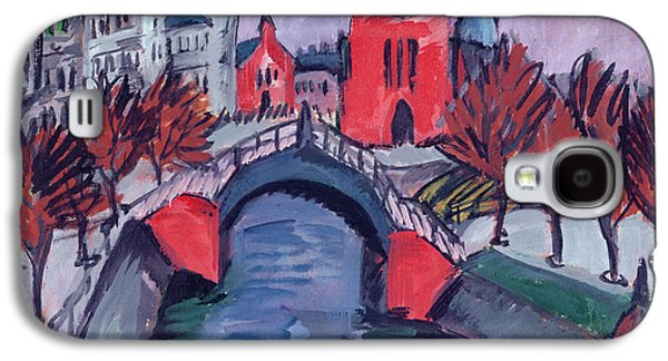 Berlin Germany Paintings Galaxy S4 Cases - Red Elisabeth Riverbank Berlin Galaxy S4 Case by Ernst Ludwig Kirchner
