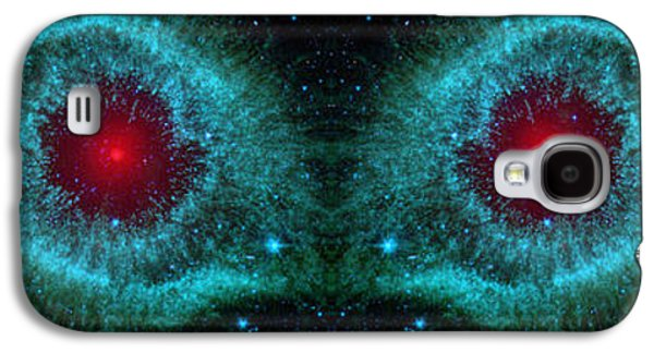 Creepy Digital Art Galaxy S4 Cases - Red Eyes in the Dark Sky Abstract Space Art Galaxy S4 Case by Animated Sentiments