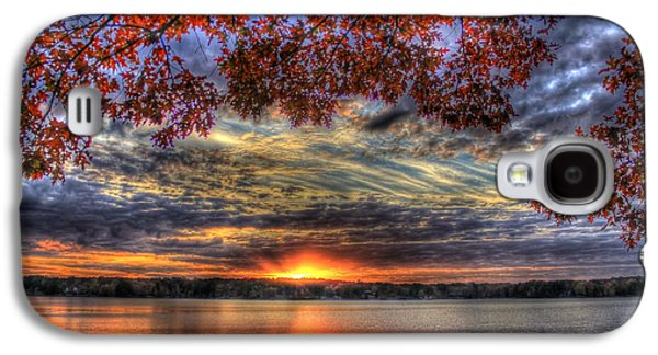 Pastureland Galaxy S4 Cases - Red Fall Leaves Sunset Lake Oconee Galaxy S4 Case by Reid Callaway