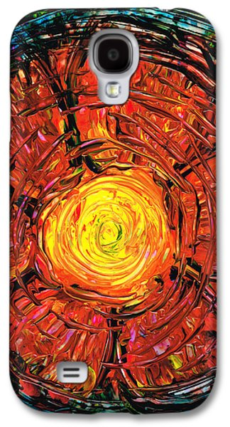 Blue And Red Paintings Galaxy S4 Cases - Red Flower Art - Incurable Romantic - By Sharon Cummings Galaxy S4 Case by Sharon Cummings