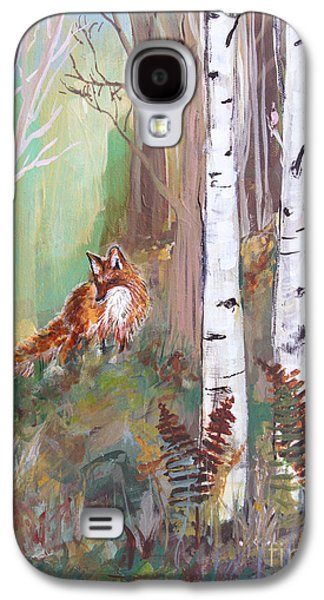 Fox Kit Paintings Galaxy S4 Cases - Red Fox and Cardinals Galaxy S4 Case by Robin Maria  Pedrero