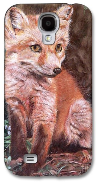 Fox Kit Paintings Galaxy S4 Cases - Red Fox Kit Galaxy S4 Case by Nancy Andresen