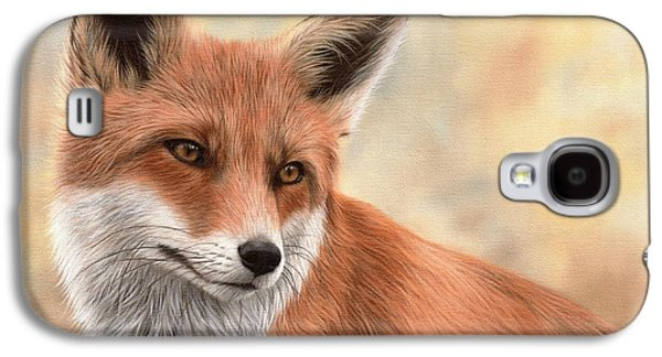 Red Fox Painting Galaxy S4 Case by Rachel Stribbling