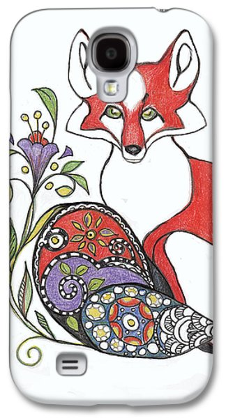 Colored Pencil Abstract Drawings Galaxy S4 Cases - Red Fox with Paisley Tail Galaxy S4 Case by Peggy Wilson