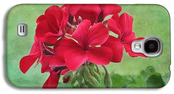Red Geraniums Galaxy S4 Cases - Red Geranium Flowers Galaxy S4 Case by Kim Hojnacki