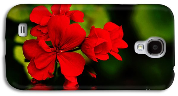 Red Geraniums Galaxy S4 Cases - Red Geranium on Water Galaxy S4 Case by Kaye Menner