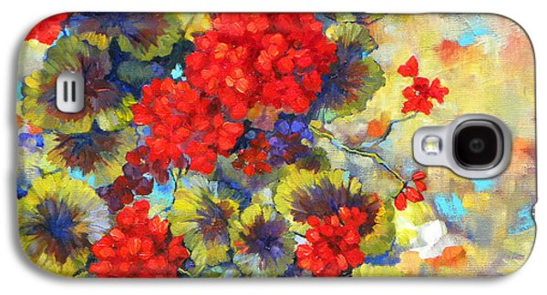 Red Geraniums Galaxy S4 Cases - Red Geraniums II Galaxy S4 Case by Peggy Wilson