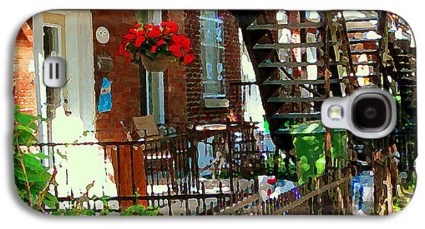 Montreal Memories Galaxy S4 Cases - Red Geraniums Verdun Winding Staircases Hanging Flower Basket Montreal Porch Scene Carole Spandau Galaxy S4 Case by Carole Spandau