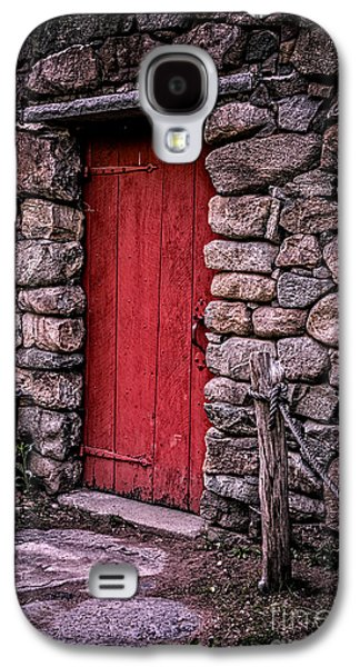Stone Buildings Galaxy S4 Cases - Red Grist Mill Door Galaxy S4 Case by Edward Fielding