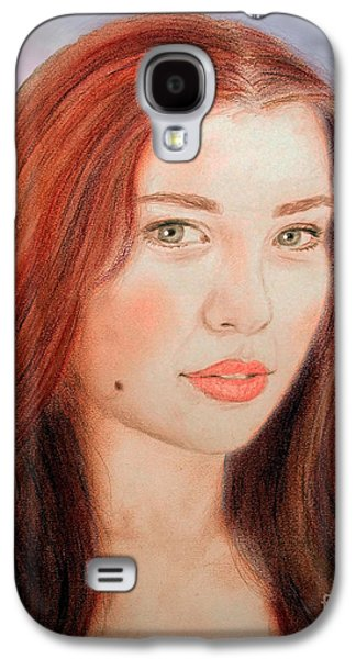 Beauty Mark Mixed Media Galaxy S4 Cases - Red Hair and Blue Eyed Beauty with a Beauty Mark II Galaxy S4 Case by Jim Fitzpatrick
