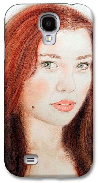 Beauty Mark Mixed Media Galaxy S4 Cases - Red Hair and Blue Eyed Beauty with a Beauty Mark Galaxy S4 Case by Jim Fitzpatrick