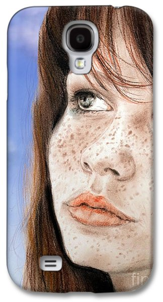 Person Galaxy S4 Cases - Red Hair and Freckled Beauty Version II Galaxy S4 Case by Jim Fitzpatrick