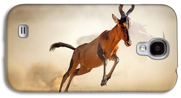 Sprint Galaxy S4 Cases - Red hartebeest running in dust Galaxy S4 Case by Johan Swanepoel