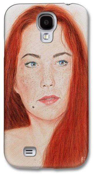 Beauty Mark Mixed Media Galaxy S4 Cases - Red Headed Beauty Galaxy S4 Case by Jim Fitzpatrick