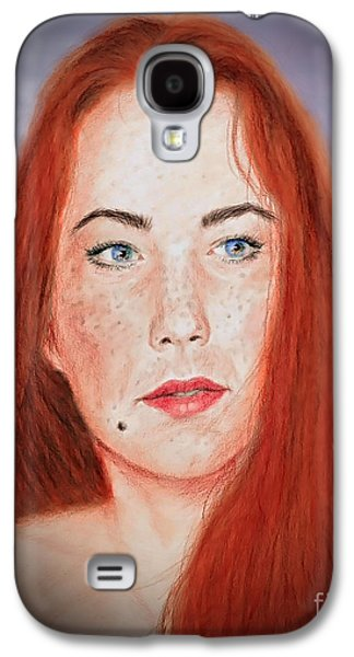 Beauty Mark Mixed Media Galaxy S4 Cases - Red Headed Beauty Vdersion II Galaxy S4 Case by Jim Fitzpatrick