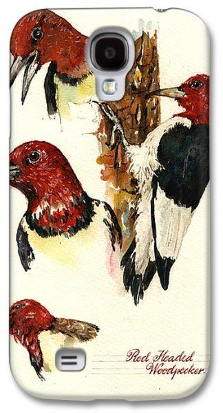 Red Headed Woodpecker Bird Galaxy S4 Case by Juan  Bosco