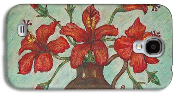 Interior Still Life Pastels Galaxy S4 Cases - Red Hibiscus with Blue Background Galaxy S4 Case by Claudia Cox