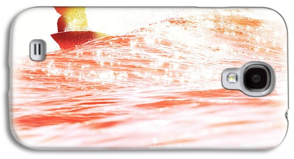 Surf Silhouette Galaxy S4 Cases - Red Hot Surfer Galaxy S4 Case by Paul Topp