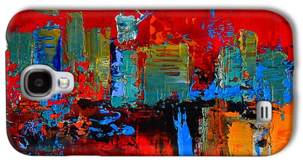 Abstractions Paintings Galaxy S4 Cases - Red Inspiration Galaxy S4 Case by Elise Palmigiani