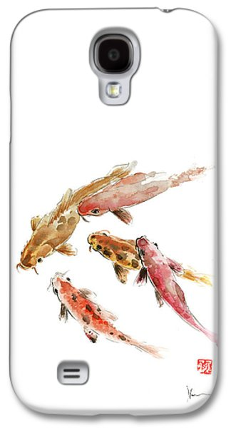 Red Koi Fish Fishes Orange Tangerine Caramel Brown Zodiac Pisces Watercolor Painting Galaxy S4 Case by Johana Szmerdt