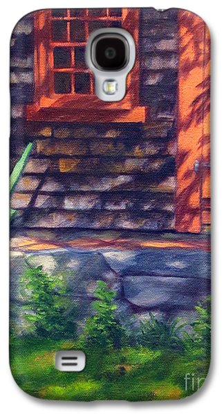 Grist Mill Paintings Galaxy S4 Cases - Red Light Grist Mill Door Galaxy S4 Case by Rosemarie Morelli