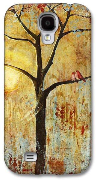 Red Love Birds In A Tree Galaxy S4 Case by Blenda Studio