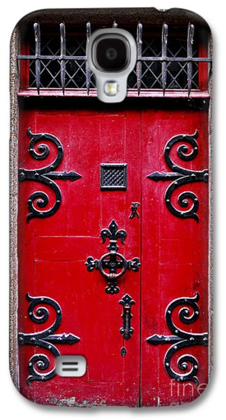 Landmarks Photographs Galaxy S4 Cases - Red medieval door Galaxy S4 Case by Elena Elisseeva