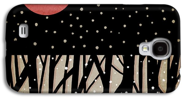 Snowy Digital Art Galaxy S4 Cases - Red Moon and Snow Galaxy S4 Case by Carol Leigh