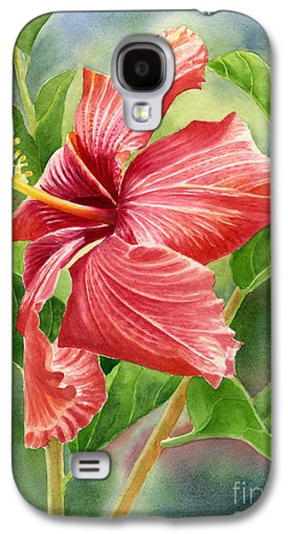 Hibiscus Galaxy S4 Cases - Red Orange Hibiscus with Background Galaxy S4 Case by Sharon Freeman