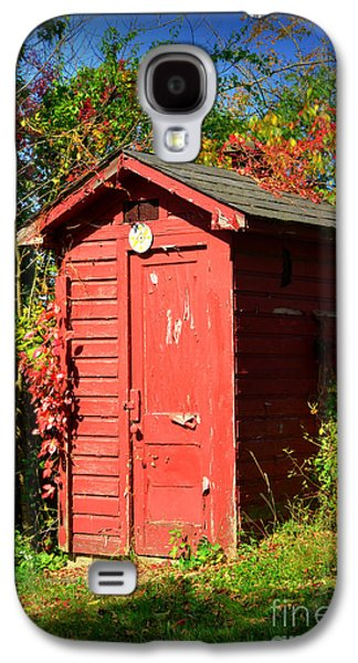 Autumn In The Country Galaxy S4 Cases - Red Outhouse Galaxy S4 Case by Paul Ward
