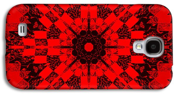 Block Quilts Tapestries - Textiles Galaxy S4 Cases - Red Patchwork Art Galaxy S4 Case by Barbara Griffin
