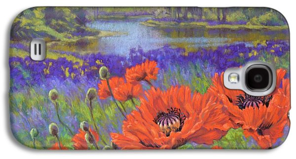 Botanical Pastels Galaxy S4 Cases - Red Poppies 1 Galaxy S4 Case by Fiona Craig