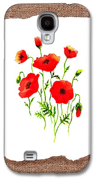 Hand Made Galaxy S4 Cases - Red Poppies Decorative Collage Galaxy S4 Case by Irina Sztukowski