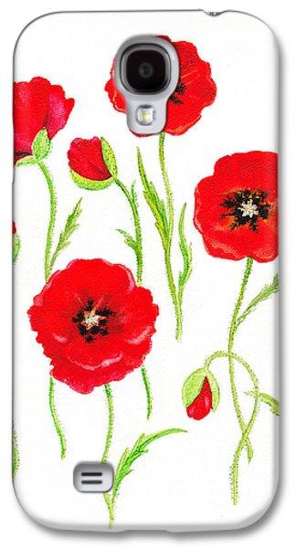 Blooming Galaxy S4 Cases - Red Poppies Galaxy S4 Case by Irina Sztukowski