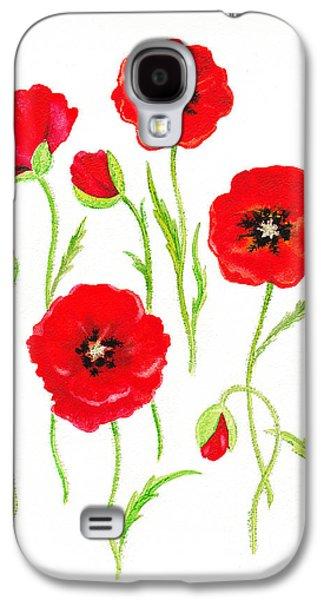 Galaxy Paintings Galaxy S4 Cases - Red Poppies Galaxy S4 Case by Irina Sztukowski