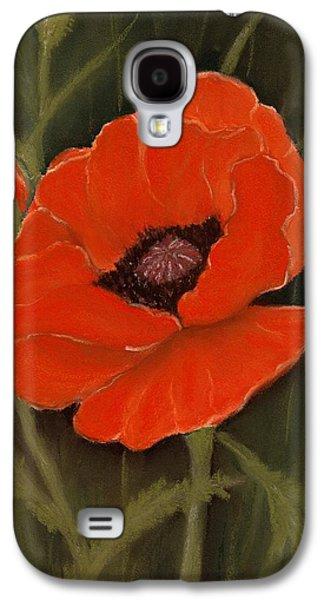 Drawing Galaxy S4 Cases - Red Poppy Galaxy S4 Case by Anastasiya Malakhova