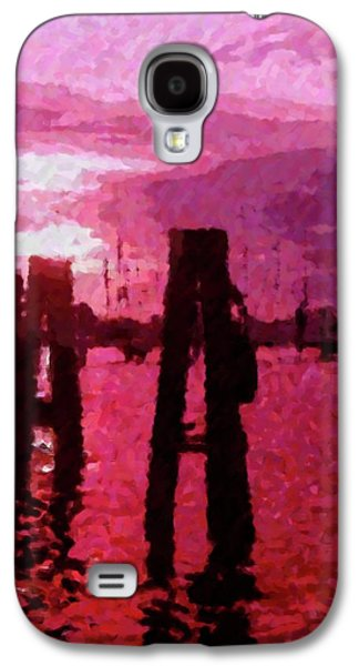 Abstract Landscape Galaxy S4 Cases - Red  Rain Galaxy S4 Case by Florene Welebny