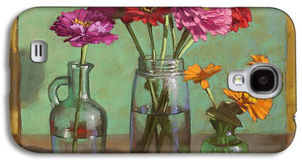 Still Life Pastels Galaxy S4 Cases - Red Ribbon and Zinnias Galaxy S4 Case by Sarah Blumenschein