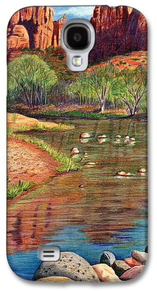 Park Scene Drawings Galaxy S4 Cases - Red Rock Crossing-Sedona Galaxy S4 Case by Marilyn Smith