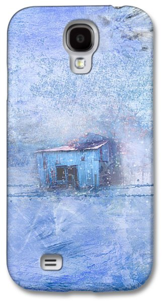 Red Barn In Winter Photographs Galaxy S4 Cases - Old Barn With Red Roof in Blue Galaxy S4 Case by Marty Malliton