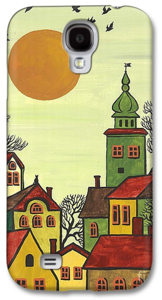Sunset Abstract Galaxy S4 Cases - Red Roofs Galaxy S4 Case by Margaryta Yermolayeva