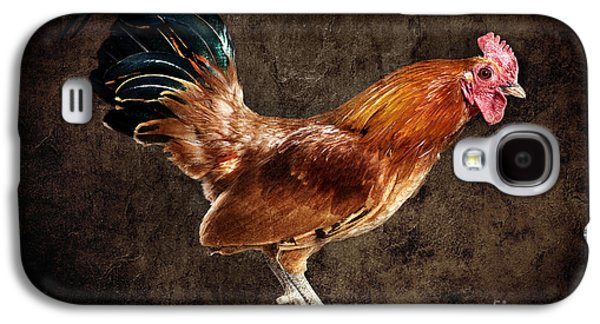 Red Rooster On Fence Post Galaxy S4 Case by Cindy Singleton