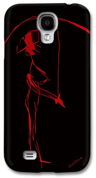 Abstract Galaxy S4 Cases - Red Rose Lady With Umbrella Vectorized Small .drawing Galaxy S4 Case by Sir Josef  Putsche Social Critic