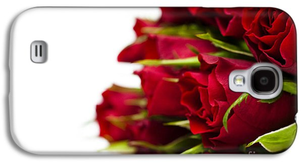 Rosaceae Galaxy S4 Cases - Red Roses Galaxy S4 Case by Anne Gilbert