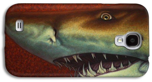 Shark Paintings Galaxy S4 Cases - Red Sea Shark Galaxy S4 Case by James W Johnson