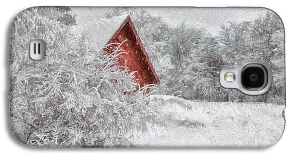 Shed Digital Art Galaxy S4 Cases - Red Shed In The Snow Galaxy S4 Case by Lois Bryan