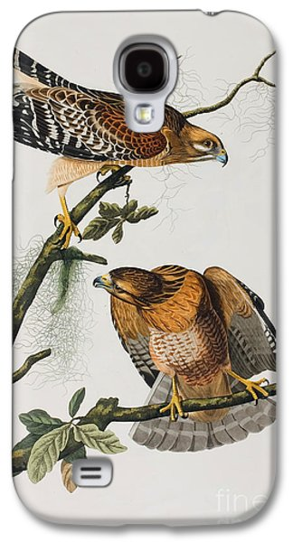 Wild Life Drawings Galaxy S4 Cases - Red Shoulered Hawk Galaxy S4 Case by John James Audubon